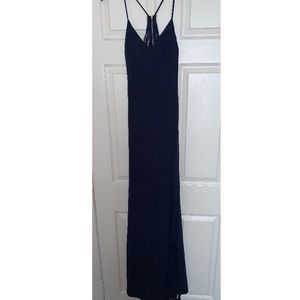 Floor length bridesmaids dress with lace accents